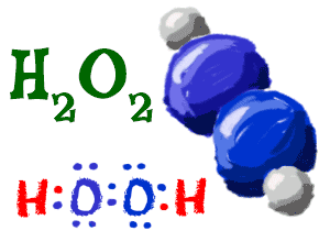 Chem4kids hydrogen orbitals and compounds cartoon image of hydrogen peroxide formula molecule and lewis structure urtaz Gallery